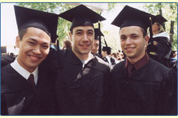 three guys in cap & gown