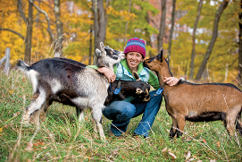 Molly Pindell and her goats